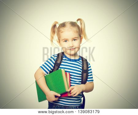 Little Funny Girl  With Books.