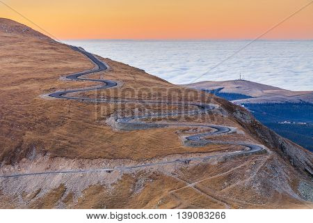 Transalpina road in Parang Mountains in Romania