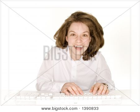 Woman Enjoying A Moment On The Computer