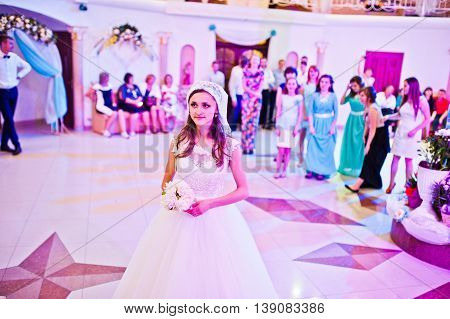 Bride Throws A Wedding Bouquet For Unmarried Girls
