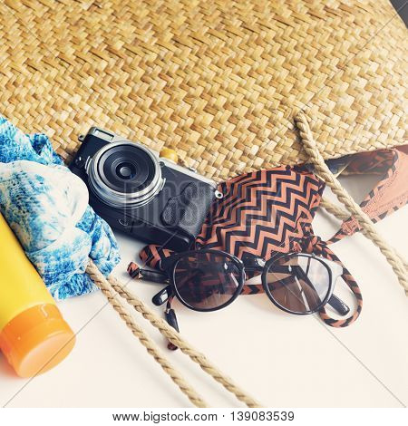 Sunblock Sunglasses Summer Bag Beach Trip Concept