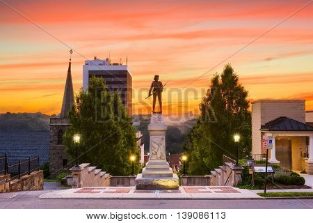 Lynchburg, Virginia, USA cityscape at Monument Terrace in the morning.