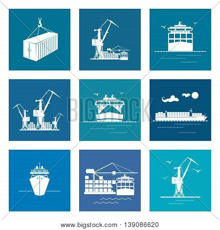 Set of Marine Cargo Icons, Dry Cargo Ship and Container Ship Unloading Containers from a Cargo Ship in a Docks with Cargo Crane, Container, International Freight Transportation, Vector