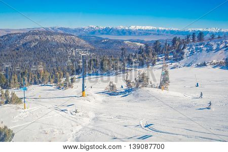 Snow landscape on Mammoth Mountain in California, US