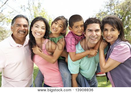 Extended Family Group In Park