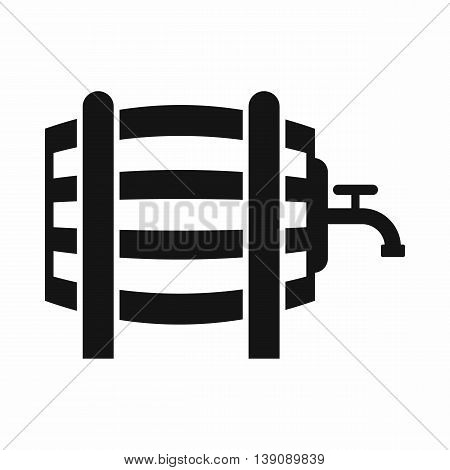 Wooden barrel with tap icon in simple style isolated vector illustration
