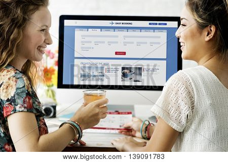 Easy Booking Flight Schedule Promotion Leisure Concept
