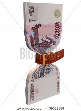 pack of 500 ruble banknotes tightly constricted belt 3D illustration
