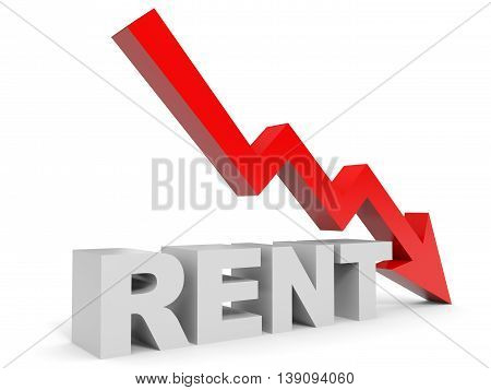 Graph down rent arrow on white background. 3D illustration.