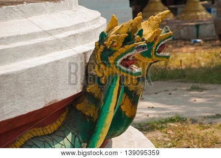 A Fragment Of The Golden Decorative Element. Bago. Myanma. Burma.