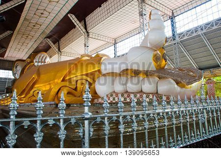 Shwethalyaung Reclining Buddha. Shwe Thar Layung Pagoda. Bago, Myanmar. Burma. A Huge Statue Of The