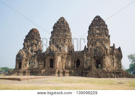 Ruins of the ancient Khmer temple Wat Phra Prang Sam Yot, sunny day. Lopburi, Thailand