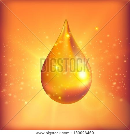 Supreme collagen oil drop with specks of light on surface on yellow orange spotty background vector illustration