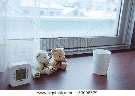 Lovely Couple Bear, Alarm Clock, White Plastic Cup