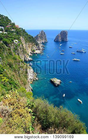 Faraglioni rocks visible from Giardini di Augusto in Capri, Campania region of Italy.
