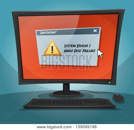 Illustration of a cartoon computer screen displaying a system breakdown with hard disk failure message displayed