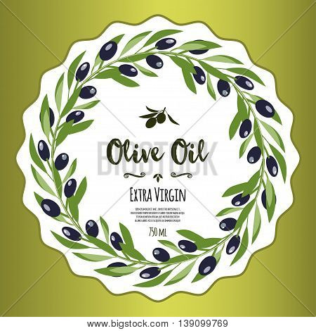 Olive oil banner design for product package labeling & decoration template. Floral frame with decorative elements & black olive tree branches with olives vector illustration. Sample text. Editable
