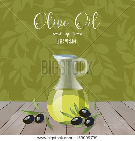 Olive oil banner design for product package labeling & decoration. Glass jar with olive oil, decorative elements & olive tree branches vector illustration. Olive tree pattern. Sample text. Editable