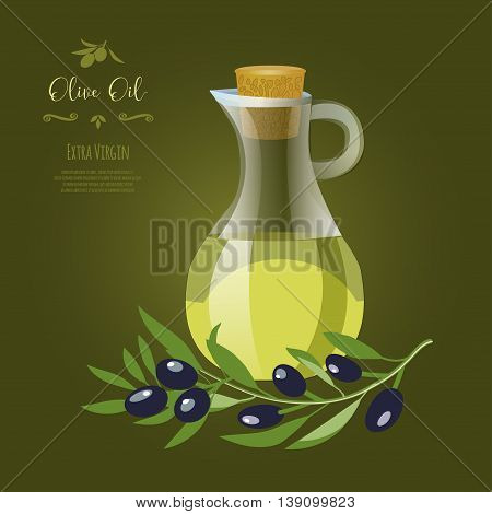 Olive oil banner design for product package labeling & decoration. Glass jar with olive oil, decorative elements & olive tree branches vector illustration. Sample text. Editable & olive tree branches with olives vector illustration. Sample text. Editable