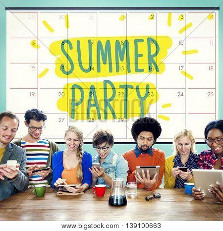 Sumer Party Celebration Summertime Beach Concept