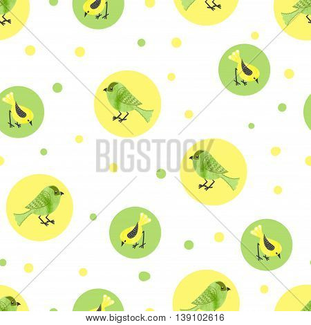 Circles background with watercolor birds. Cute watercolor birds seamless pattern. Vector illustration in green and yellow colors.