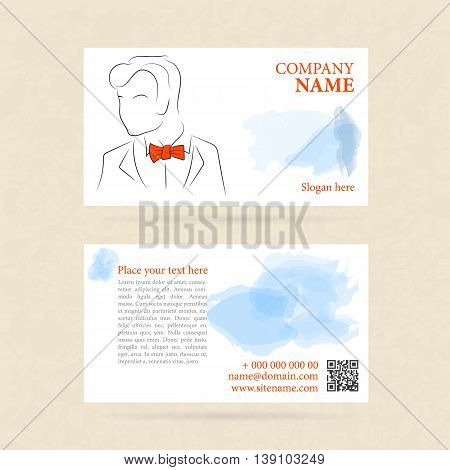 Vector template two side horizontal business card man in orange bow tie