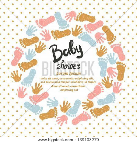 Baby shower invitation card design. Vector template with cute doodle hand and foot prints.