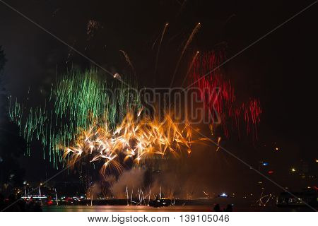 Firework over the rhine river Cologne Germany