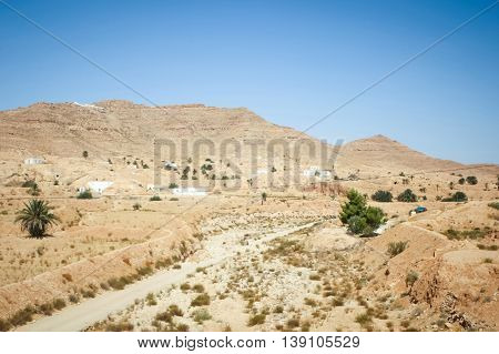 The berber village of Matmata in south Tunisia. Matmata is famous for its troglodyte cave dwellings.