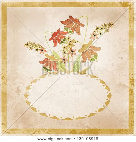 Flower frame. Floral border. Bouquet of flowers grunge illustration