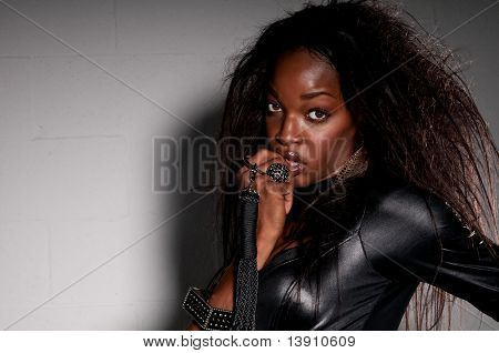 African American Woman With Catsuit