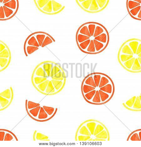 Watercolor citrus seamless pattern. Vector background with watercolor slices of lemons and oranges.