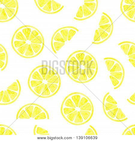 Watercolor lemon seamless pattern. Vector background with lemon slices isolated on white. Citrus wallpaper.