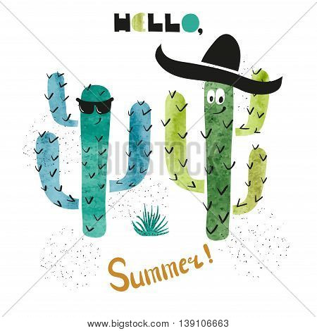 Cute watercolor cactus vector illustration. Summer party invitation design. Hello summer - lettering.