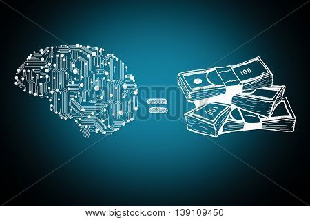 circuit board form of human brain and money bills