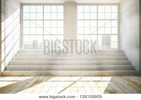 Empty interior with windows city view daylight concrete stairs and wooden floor. 3D Rendering
