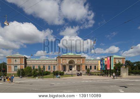 Copenhagen, Denmark - July 19, 2016: People in front of the National Art Gallery