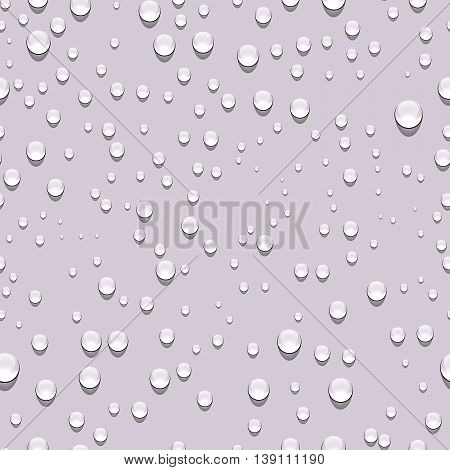 Water drops seamless pattern. Rain drops. Condensed water background. Water drops scattered across the surface. Water drops seamless background. Vector illustration