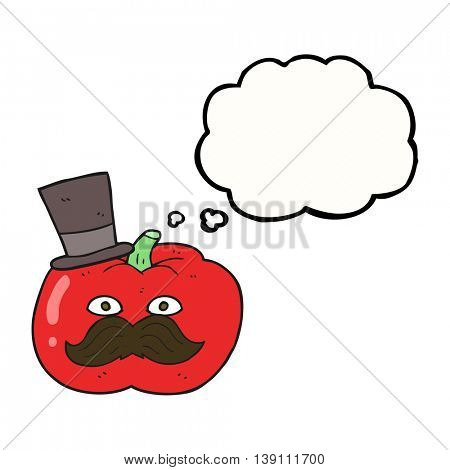 freehand drawn thought bubble cartoon posh tomato