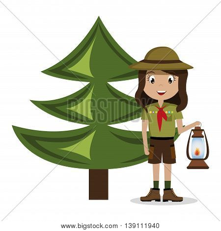 scout character with pine isolated icon design, vector illustration  graphic