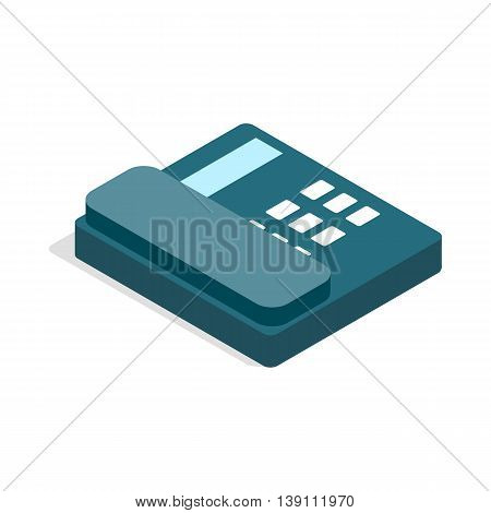 Landline icon in isometric 3d style isolated on white background. Conversations symbol