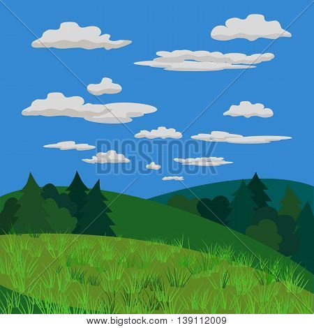 Green landscape. Wood with bush, tree, fur-tree silhouette. Country view with hills, meadows and fields. Green grass in mountain valley. Countryside scene background. Vector Illustration