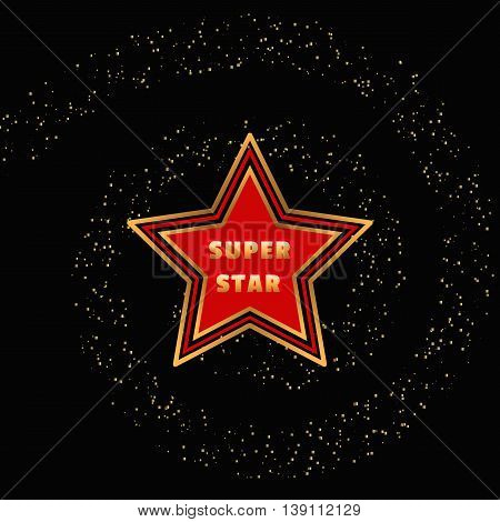 Super star. Award banner background. Golden spiral and characters. Success Superstar Victory Winning Vector Concept. Reward ceremony decoration. Movie, music awarding layout. Vector illustration