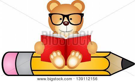 Teddy bear reading book sitting on pencil