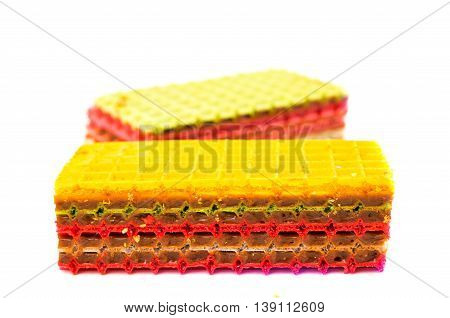 Wafer cakes  confiture, cookie on white background