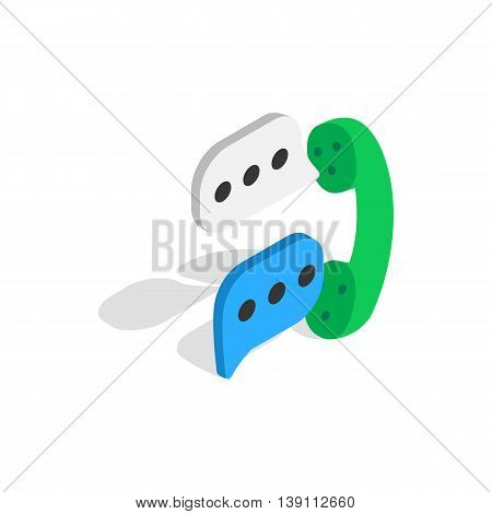 Talking on phone icon in isometric 3d style isolated on white background. Conversations symbol