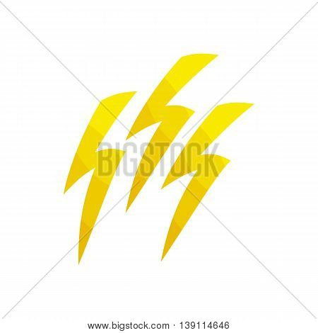 Natural disaster insurance. The discharge of electricity, lightning icon in cartoon style isolated on white background