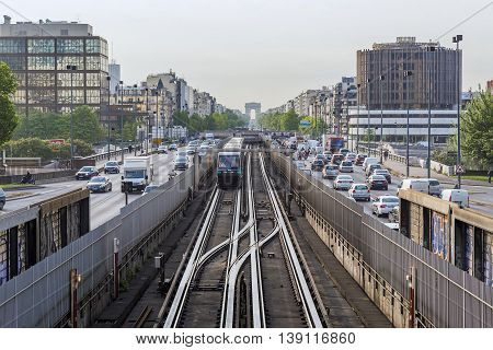 PARIS, FRANCE - MAY 21, 2015: This is the Paris metro line that runs along the historic axis - from the Triumphal Arch to La Defense.