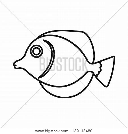Tang fish, Zebrasoma flavescens icon in outline style isolated vector illustration