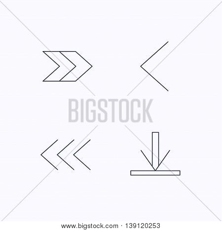 Arrows icons. Download, left and right direction linear signs. Next, back arrows flat line icons. Flat linear icons on white background. Vector